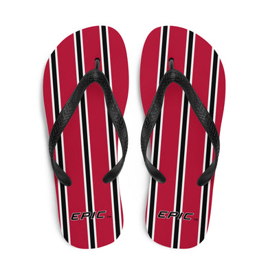 Unisex EPIC Flip-Flops | Red - Black-White Stripes | Sizes: Men's 6-11 and Women's 7-12