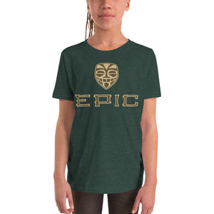 Unisex EPIC Youth Short Sleeve T-Shirt | Heather Forest | Brown-Beige Tiki Epic-Epic Tiki | Sizes: S - XL
