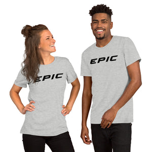 Unisex EPIC Short Sleeve Crew Neck T-Shirt | Athletic Heather | Contemporary Fit | Black Epic | Sizes: S - 4XL
