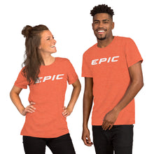 Load image into Gallery viewer, Unisex EPIC Short Sleeve Crew Neck T-Shirt | Heather Orange | Contemporary Fit | White Epic | Sizes: S - 4XL