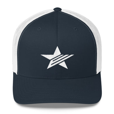 EPIC Retro Mesh Cap | Navy-White | Adjustable | White Epic Star | One Size Fits Most