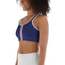 Load image into Gallery viewer, Women's EPIC Tech Sports Bra | Navy - Red-White Stripe | Scoop Neck - Racerback | Sizes: XS - 2XL (front view)