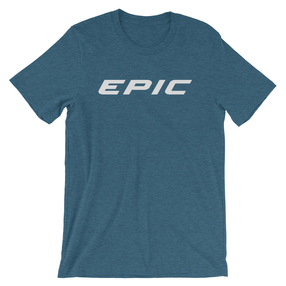 Unisex EPIC Short Sleeve Crew Neck T-Shirt | Heather Teal | Contemporary Fit | Lt. Grey Epic | Sizes: S - 4XL