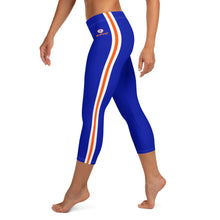 Load image into Gallery viewer, Women's EPIC Tech Capri Leggings | Deep Royal - Orange-White Stripes | Regular Waist | Sizes: XS - XL