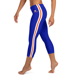 Women's EPIC Tech Capri Leggings | Deep Royal - Orange-White Stripes | Regular Waist | Sizes: XS - XL