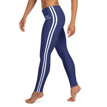 Load image into Gallery viewer, Women's EPIC Tech Leggings | Navy - Navy-White Stripes | Regular Waist | Sizes: XS - XL