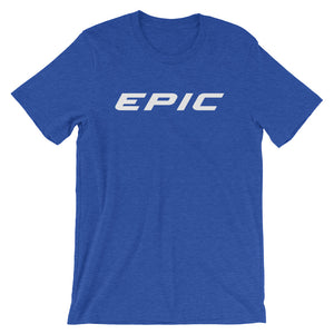Unisex EPIC Short Sleeve Crew Neck T-Shirt | Heather Royal | Contemporary Fit | White Epic | Sizes: S - 4XL