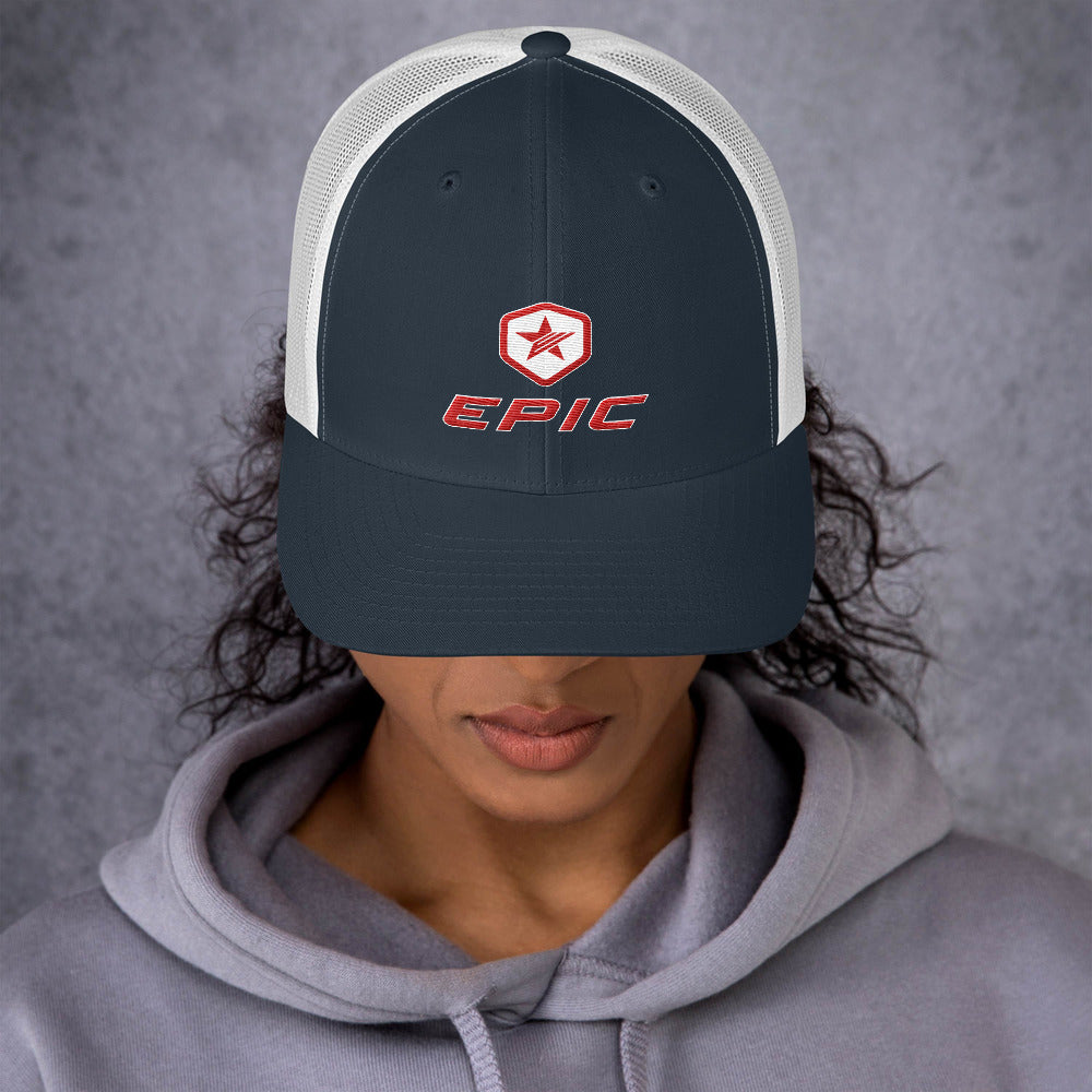EPIC Retro Mesh Cap | Navy-White | Adjustable | Red-White Epic-Epic Hex Star | One Size Fits Most