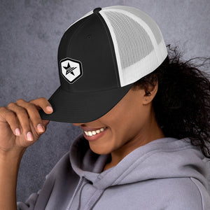 EPIC Retro Mesh Cap | Black-White | Adjustable | Black-White Epic Hex Star | One Size Fits Most