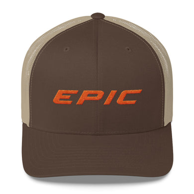 EPIC Retro Mesh Cap | Brown-Beige | Adjustable | Orange Epic | One Size Fits Most