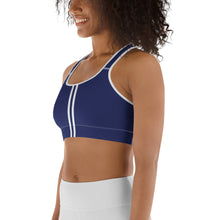Load image into Gallery viewer, Women's EPIC Tech Sports Bra | Navy - Navy-White Stripe | Scoop Neck - Racerback | Sizes: XS - 2XL (back view)