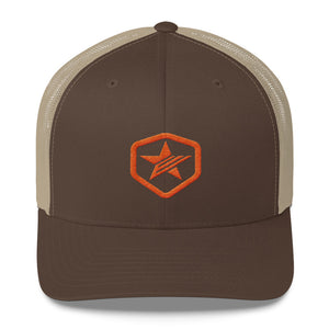 EPIC Retro Mesh Cap | Brown-Beige | Adjustable | Orange Epic Hex Star | One Size Fits Most