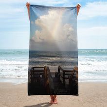 "Load image into Gallery viewer, Super Soft Beach Towel | EPIC Rainbow at Coquina Key Walkover | 30"" x 60"""