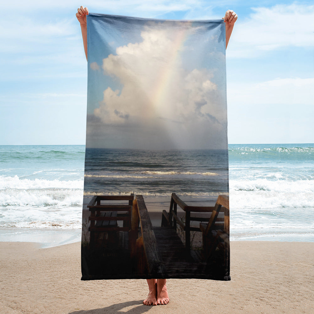 Super Soft Beach Towel | EPIC Rainbow at Coquina Key Walkover | 30
