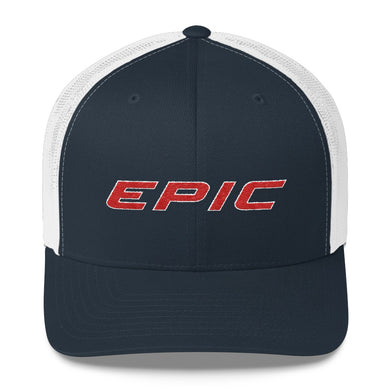 EPIC Retro Mesh Cap | Navy-White | Adjustable | Red-White Epic | One Size Fits Most