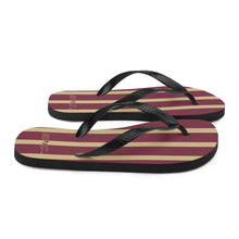 Load image into Gallery viewer, Unisex EPIC Flip-Flops | Garnet-Gold Stripes | Sizes: Men's 6-11 and Women's 7-12