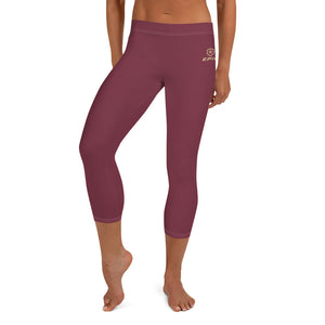 Women's EPIC Tech Capri Leggings | Garnet - Garnet-Gold Stripes | Regular Waist | Sizes: XS - XL
