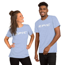 Load image into Gallery viewer, Unisex EPIC Short Sleeve Crew Neck T-Shirt | Heather Blue | Contemporary Fit | White Epic | Sizes: S - 4XL