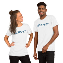Load image into Gallery viewer, Unisex EPIC Short Sleeve Crew Neck T-Shirt | White | Contemporary Fit | Teal Epic | Sizes: XS - 4XL