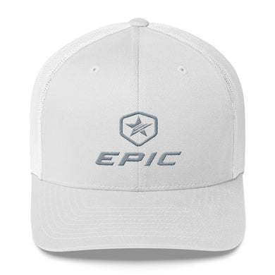 EPIC Retro Mesh Cap | White-White | Adjustable | Grey Epic-Epic Hex Star | One Size Fits Most