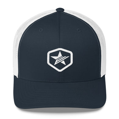 EPIC Retro Mesh Cap | Navy-White | Adjustable | White Epic Hex Star | One Size Fits Most