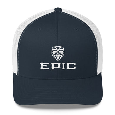 EPIC Retro Mesh Cap | Navy-White | Adjustable | White Tiki Epic-Epic Tiki | One Size Fits Most