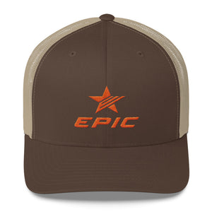 EPIC Retro Mesh Cap | Brown-Beige | Adjustable | Orange Epic-Epic Star | One Size Fits Most