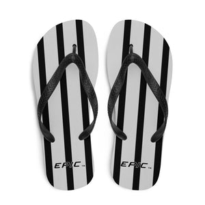 Unisex EPIC Flip-Flops | Grey-Black Stripes | Sizes: Men's 6-11 and Women's 7-12