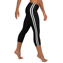Load image into Gallery viewer, Women's EPIC Tech Capri Leggings | Black - Black-White Stripes | Regular Waist | Sizes: XS - XL