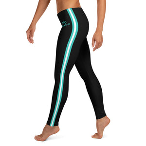 Women's EPIC Tech Leggings | Black - Turquoise-White Stripes | Regular Waist | Sizes: XS - XL