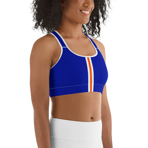 Women's EPIC Tech Sports Bra | Deep Royal - Orange-White Stripe | Scoop Neck - Racerback | Sizes: XS - 2XL (front view)