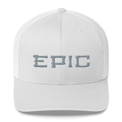 EPIC Retro Mesh Cap | White-White | Adjustable | Grey Tiki Epic | One Size Fits Most