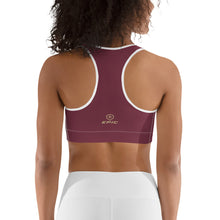 Load image into Gallery viewer, Women's EPIC Tech Sports Bra | Garnet - Garnet-Gold Stripe | Scoop Neck - Racerback | Sizes: XS - 2XL (back view)