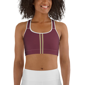Women's EPIC Tech Sports Bra | Garnet - Garnet-Gold Stripe | Scoop Neck - Racerback | Sizes: XS - 2XL (back view)