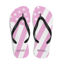 Load image into Gallery viewer, Unisex EPIC Flip-Flops | Pink-White Stripes | Sizes: Men's 6-11 and Women's 7-12