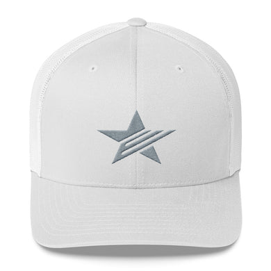 EPIC Retro Mesh Cap | White-White | Adjustable | Grey Epic Star | One Size Fits Most