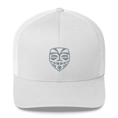 EPIC Retro Mesh Cap | White-White | Adjustable | Grey Epic Tiki | One Size Fits Most