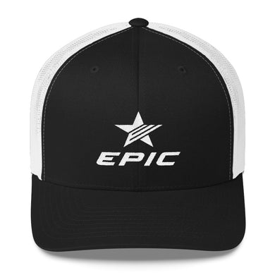 EPIC Retro Mesh Cap | Black-White | Adjustable | White Epic-Epic Star | One Size Fits Most