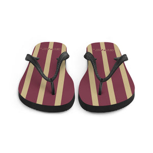 Unisex EPIC Flip-Flops | Garnet-Gold Stripes | Sizes: Men's 6-11 and Women's 7-12