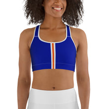 Load image into Gallery viewer, Women's EPIC Tech Sports Bra | Deep Royal - Orange-White Stripe | Scoop Neck - Racerback | Sizes: XS - 2XL (back view)