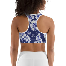Load image into Gallery viewer, Women's EPIC Tech Sports Bra | Navy-White Hibiscus | Scoop Neck - Racerback | Sizes: XS - 2XL (back view)