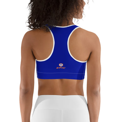 Women's EPIC Tech Sports Bra | Deep Royal - Orange-White Stripe | Scoop Neck - Racerback | Sizes: XS - 2XL (back view)