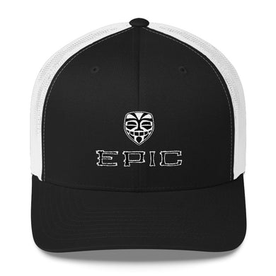 EPIC Retro Mesh Cap | Black-White | Adjustable | Black-White Tiki Epic-Epic Tiki | One Size Fits Most