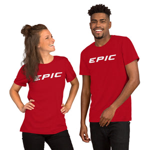 Unisex EPIC Short Sleeve Crew Neck T-Shirt | Red | Contemporary Fit | White Epic | Sizes: S - 4XL