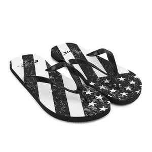 Unisex EPIC Flip-Flops | Distressed Black-Grey Flag | Sizes: Men's 6-11 and Women's 7-12