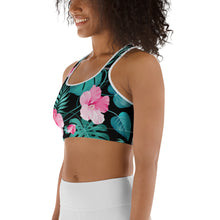 Load image into Gallery viewer, Women's EPIC Tech Sports Bra | Black - Turquoise-Pink Hibiscus | Regular Waist | Sizes: XS - 2XL (back view)