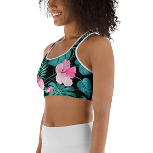 Women's EPIC Tech Sports Bra | Black - Turquoise-Pink Hibiscus | Regular Waist | Sizes: XS - 2XL (back view)