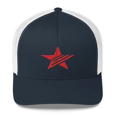 EPIC Retro Mesh Cap | Navy-White | Adjustable | Red Epic Star | One Size Fits Most