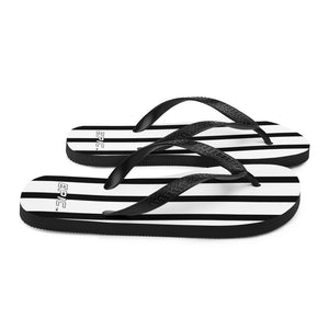 Unisex EPIC Flip-Flops | White-Black Stripes | Sizes: Men's 6-11 and Women's 7-12