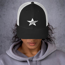 Load image into Gallery viewer, EPIC Retro Mesh Cap | Black-White | Adjustable | White Epic Star | One Size Fits Most